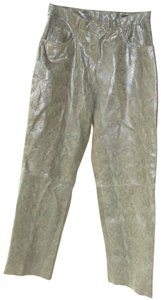 Adler Collection Snakeskin Leather Pants Embossed Leather Leather Snake Print Straight Leg Jeans-Coated