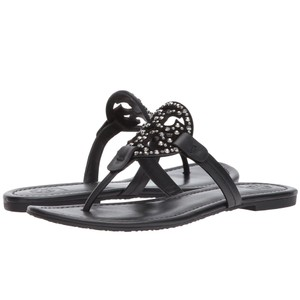 Tory Burch Tb Logo Flip Flop Leather Black Sandals