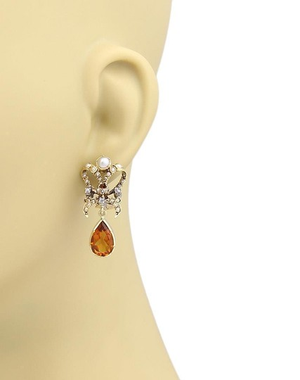 Other Citrine Pearls Ribbon Bow 18k Gold Dangle Earrings