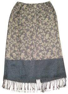 Parisian Signature Petites Fringed Fringe Hem Brocade Jacquard Skirt Black and Gold