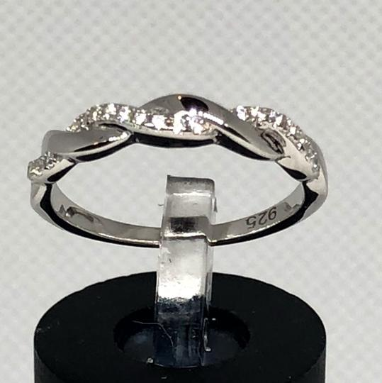 Sterling Silver Braided Clear CZ Ring CIL Image 2