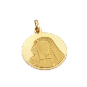 Other Round Carved Madonna Virgin Mary 18k Gold Pendant