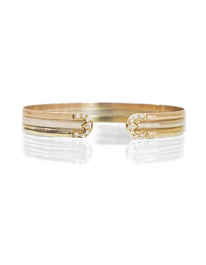 Preload https://item3.tradesy.com/images/gold-tri-colored-18k-and-diamond-cuff-bracelet-23337172-0-0.jpg?width=440&height=440