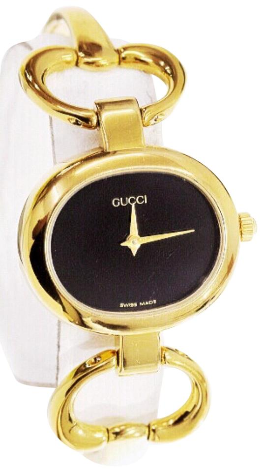 762030bd5 Gucci Gold Horsebit Vintage 1600 18k Plated Bangle Watch - Tradesy