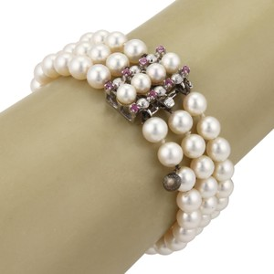 Other Pearls & Pink Sapphire 18k Gold Triple Strand Bracelet