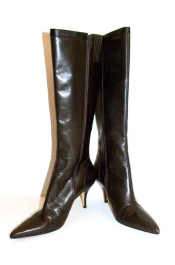 Ann Taylor Chic Leather Pointy Brown Boots
