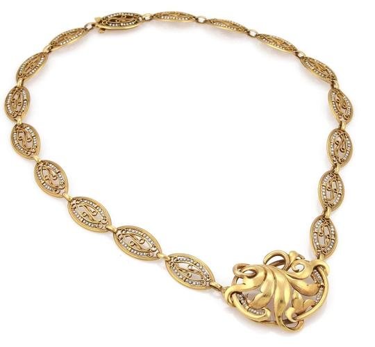 Other Antique Seed Pearls 18k Gold Floral Fancy Link Necklace