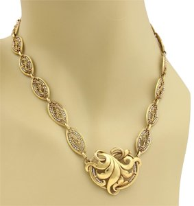 Modern Vintage Antique Seed Pearls 18k Yellow Gold Floral Fancy Link Necklace