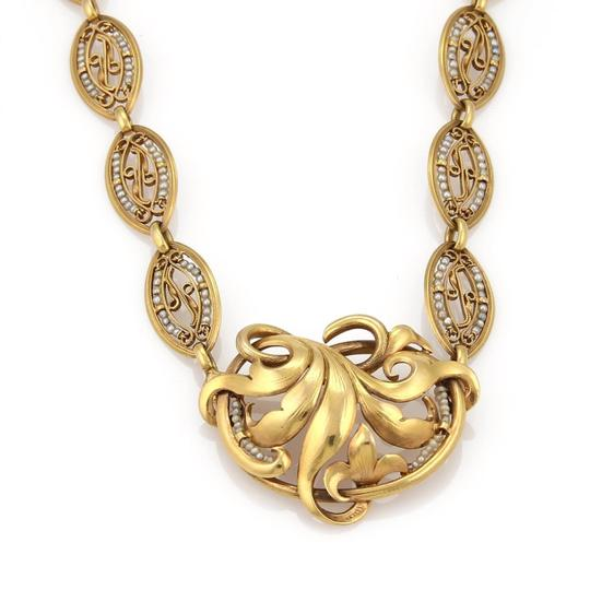 Modern Vintage Antique Seed Pearls 18k Yellow Gold Floral Fancy Link Necklace Image 1