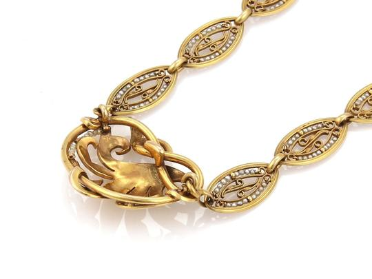 Modern Vintage Antique Seed Pearls 18k Yellow Gold Floral Fancy Link Necklace Image 2