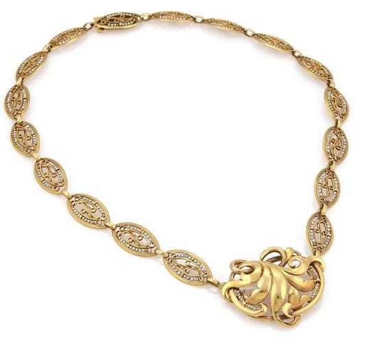 Modern Vintage Antique Seed Pearls 18k Yellow Gold Floral Fancy Link Necklace Image 3