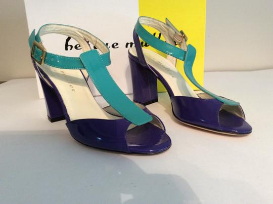 Bettye Muller Patent Leather Purple/Turquoise Gold Buckle Purple/turquoise Sandals Image 1