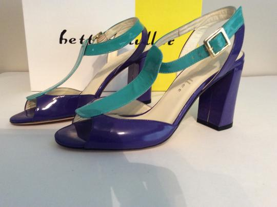 Bettye Muller Patent Leather Purple/Turquoise Gold Buckle Purple/turquoise Sandals