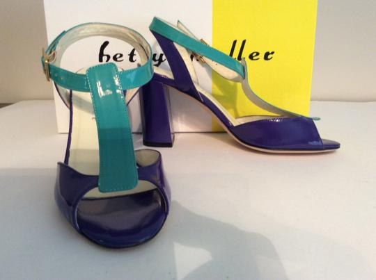 Bettye Muller Patent Leather Purple/Turquoise Gold Buckle Purple/turquoise Sandals Image 3