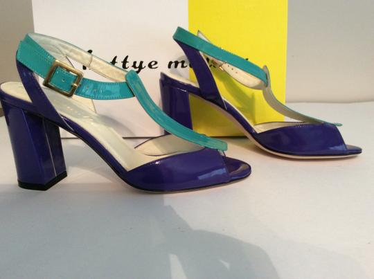 Bettye Muller Patent Leather Purple/Turquoise Gold Buckle Purple/turquoise Sandals Image 4