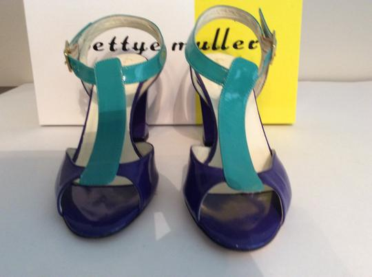 Bettye Muller Patent Leather Purple/Turquoise Gold Buckle Purple/turquoise Sandals Image 5
