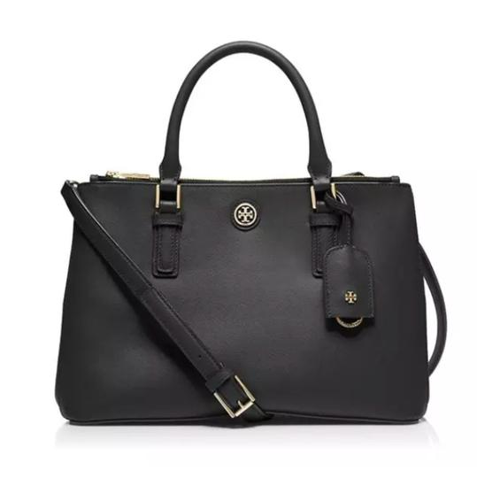 Preload https://item5.tradesy.com/images/tory-burch-robinson-small-double-zip-satchel-black-saffiano-cross-body-bag-23337269-0-0.jpg?width=440&height=440