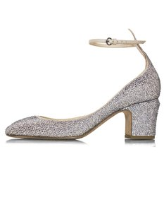 Valentino Crystal Strap Taupe and pewter Pumps