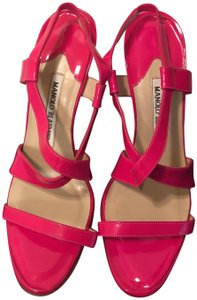 Manolo Blahnik Stiletto Summer Fuchsia/ Bright Pink/ Watermelon Sandals