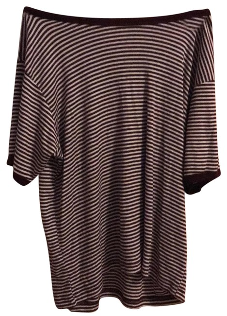 Preload https://img-static.tradesy.com/item/23337294/brandy-melville-maroon-and-white-stripped-t-shirt-tee-shirt-size-os-one-size-0-2-650-650.jpg