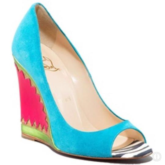 Christian Louboutin turquoise pink Wedges