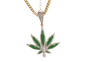 other 10KT. Yellow Gold Franco Chain with Diamond Fancy Pendant Charm