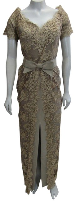 Item - Bronze Beige Couture Neiman Marcus Evening Gown Lace Md Long Formal Dress Size 10 (M)