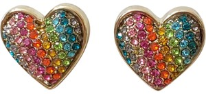 Betsey Johnson Rainbow Pave Heart Earrings