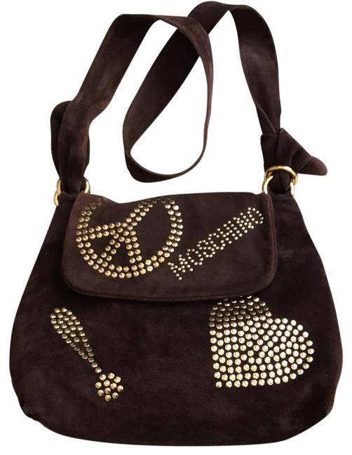 Item - Luscious Chocolate Brown Suede with Shiny Gold Tone Brass Studs Leather Cross Body Bag