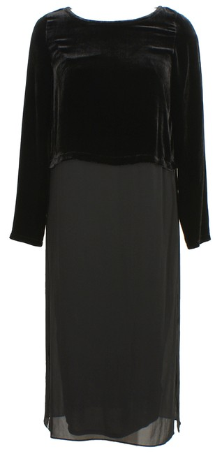 Preload https://img-static.tradesy.com/item/23337501/eileen-fisher-black-velvet-sheer-silk-ballet-neck-midi-duster-1x-mid-length-short-casual-dress-size-0-0-650-650.jpg