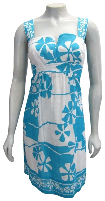 Preload https://item3.tradesy.com/images/trina-turk-bluewhite-floral-print-turquoise-beach-short-casual-dress-size-10-m-23337502-0-1.jpg?width=400&height=650