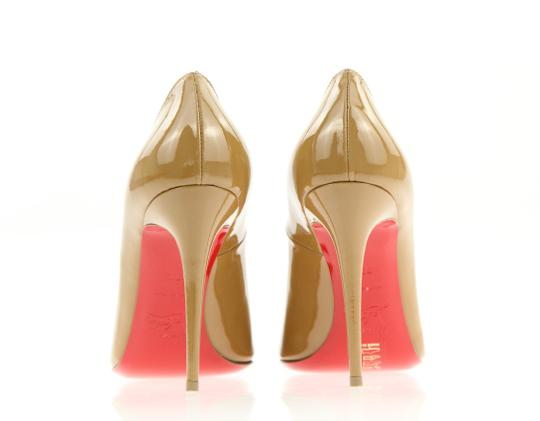 Christian Louboutin Round Toe Patent Leather Stiletto Brown Pumps