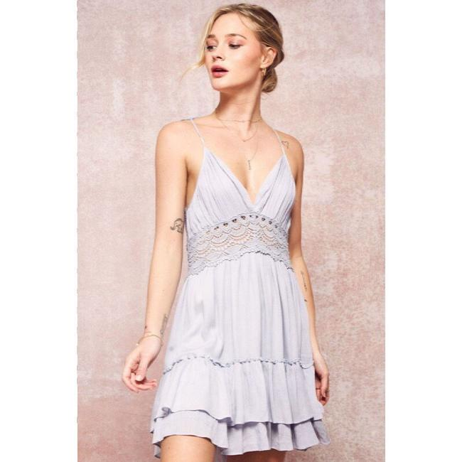 Promesa short dress dusty blue on Tradesy