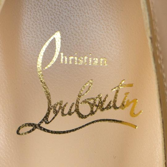 Christian Louboutin Round Toe Patent Leather Stiletto Beige Pumps
