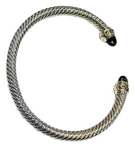 David Yurman David Yurman Never Worn Black Onyx 14k and Sterling Silver Cable Bangle 14k Yellow Gold and Sterling Silver Beautiful black onyx is at each end of the bracelet 5mm Medium 100% Authentic Guaranteed Comes inside original David Yurman pouch!