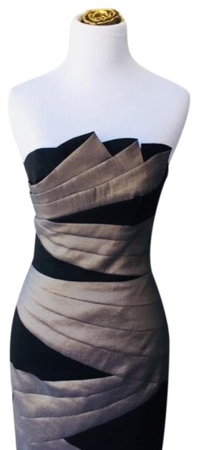 Preload https://img-static.tradesy.com/item/23337576/jessica-mcclintock-black-and-pewter-strapless-mid-length-cocktail-dress-size-4-s-0-2-650-650.jpg