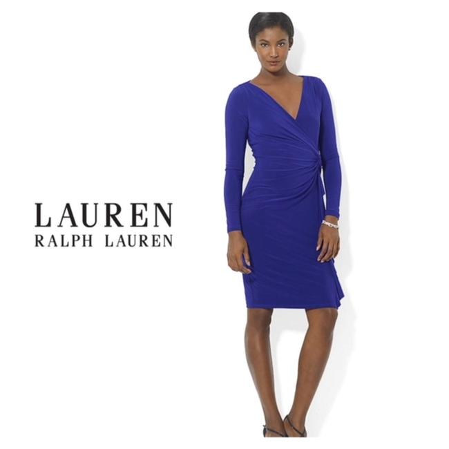 Lauren Ralph Lauren Faux Wrap Surplice Neckline Side Pleat Dress