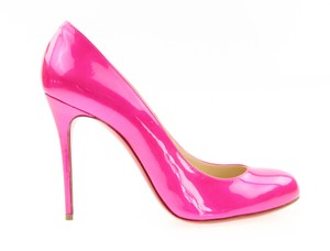 Christian Louboutin Patent Leather Round Toe Stiletto Hot Pink Pumps