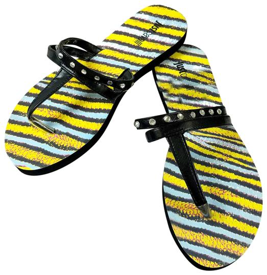 Preload https://item1.tradesy.com/images/just-cavalli-black-and-yellow-new-women-embellished-t-strap-flip-flops-beach-sandals-flats-size-us-7-23337620-0-2.jpg?width=440&height=440