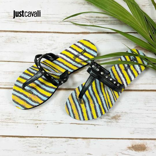 Just Cavalli Italian Flops Summer Sandals Black & Yellow Flats