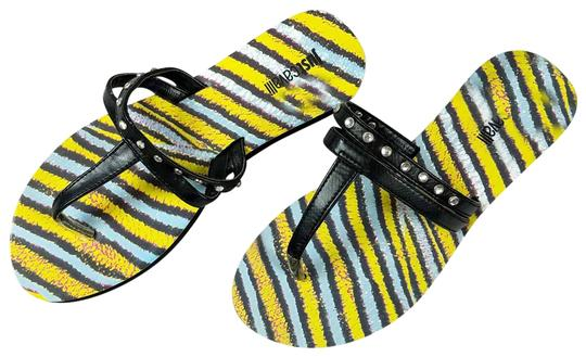 Preload https://item2.tradesy.com/images/just-cavalli-black-and-yellow-new-women-crystals-embellished-t-strap-beach-flip-flops-flats-sandals--23337621-0-2.jpg?width=440&height=440