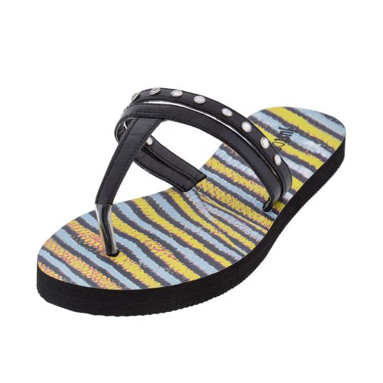 Just Cavalli Flip-flops Flat Beach Black & Yellow Sandals