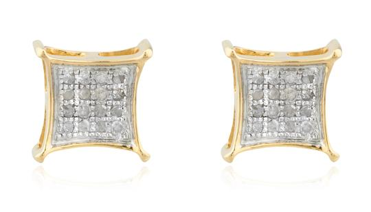 JMD LUX Mens 10K Gold .08Ct Diamond Stud Earrings 5mm Square Kite Pave Studs