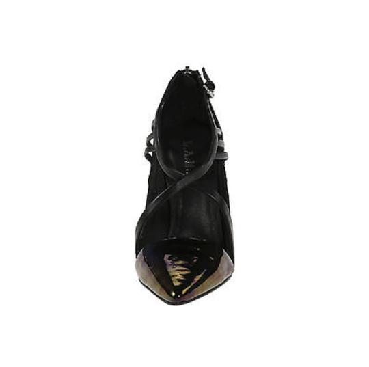 L.A.M.B. Stiletto Evening Patent Leather Black/Purple/Golden Sandals
