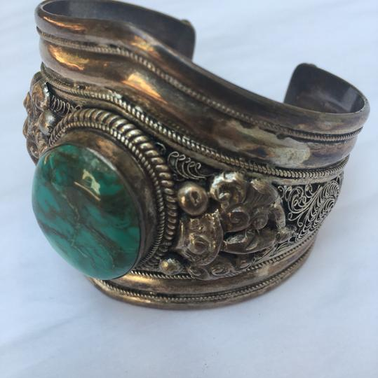 Unknown Sterling Silver and Turquoise Bracelet Cuff