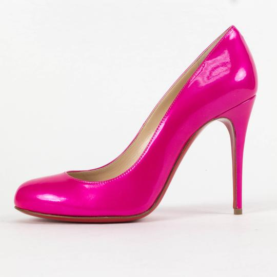 Christian Louboutin Patent Leather Round Toe Stiletto Begonia Pink Pumps