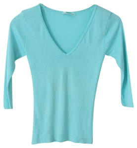 Michael Stars V-neck 3/4 Sleeve Cotton Stretchy T Shirt Turquoise