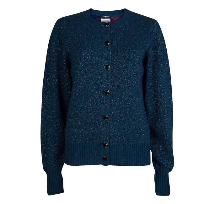 Preload https://img-static.tradesy.com/item/23337733/chanel-blue-peacock-lurex-knit-button-front-cashmere-cardigan-size-8-m-0-0-650-650.jpg