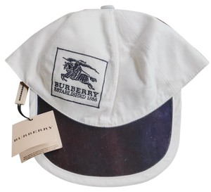 Burberry Burberry Hat Cap Sun Visor White With Blue Embroidery Size Jr-M