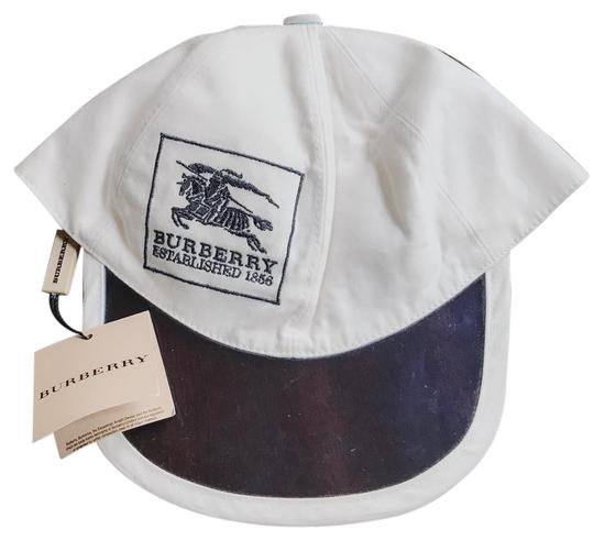 Preload https://item5.tradesy.com/images/burberry-white-cap-sun-visor-with-blue-embroidery-size-jr-m-hat-23337759-0-1.jpg?width=440&height=440